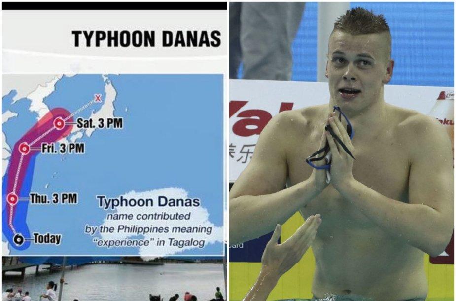 Taifūnas Danas ir plaukikas Danas Rapšys pasiekė Pietų Korėją