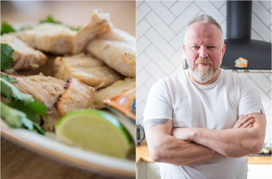 Vytaras Radzevičius ir jo ruoštas žuvies patiekalas
