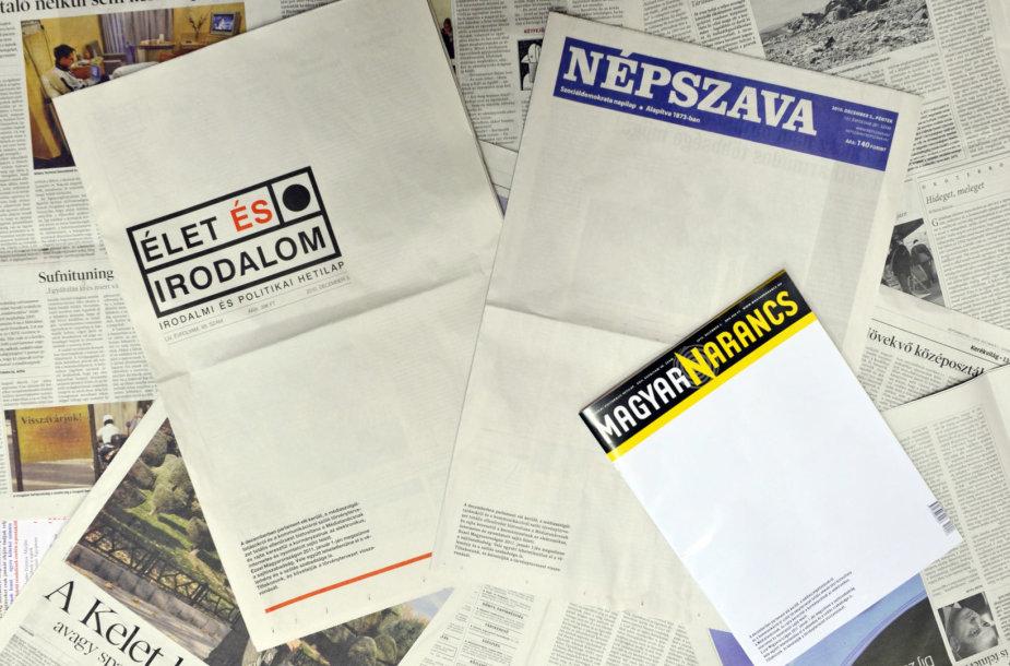 Protestuojantys vengrų laikraščiai