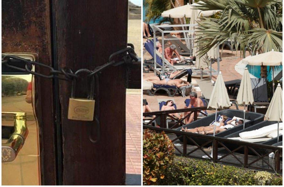 Karantinuoto viešbučio svečių gyvenimas: vieni mėgaujasi saule, kiti meldžia pagalbos