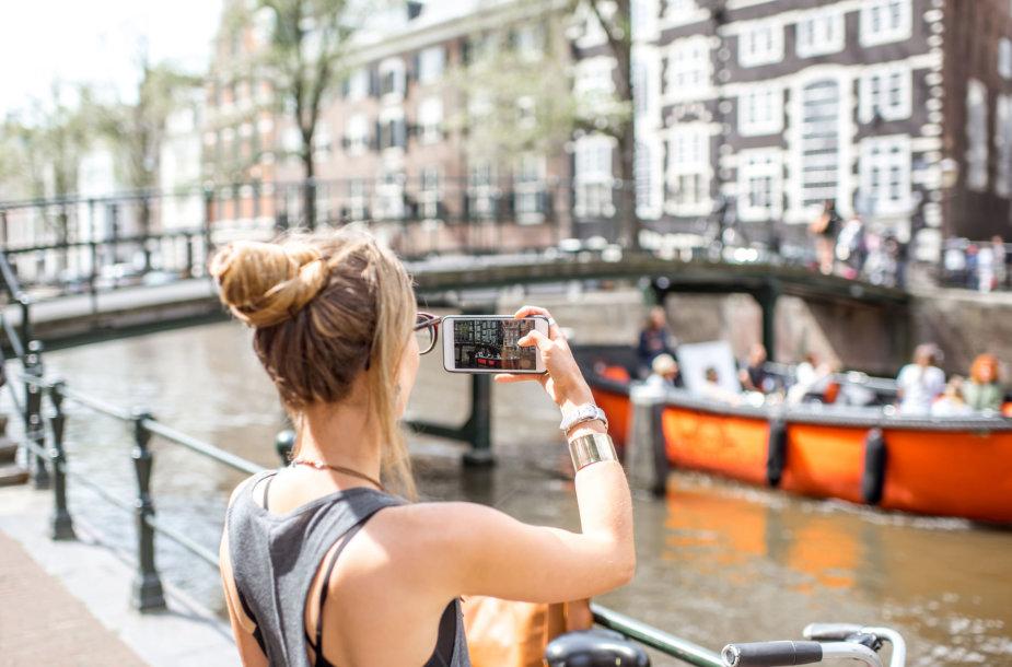 Turistė Amsterdame