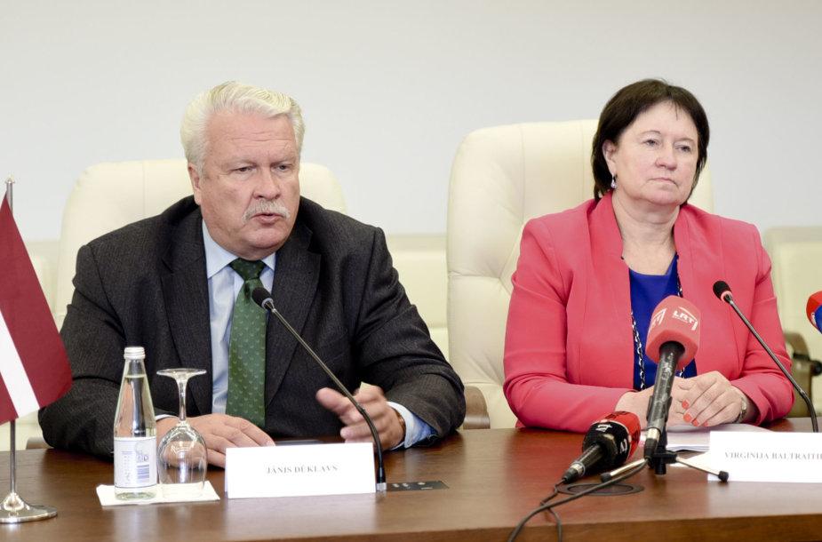 Žemės ūkio ministrės V.Baltraitienės ir Latvijos žemės ūkio ministro J.Duklavs spaudos konferencija