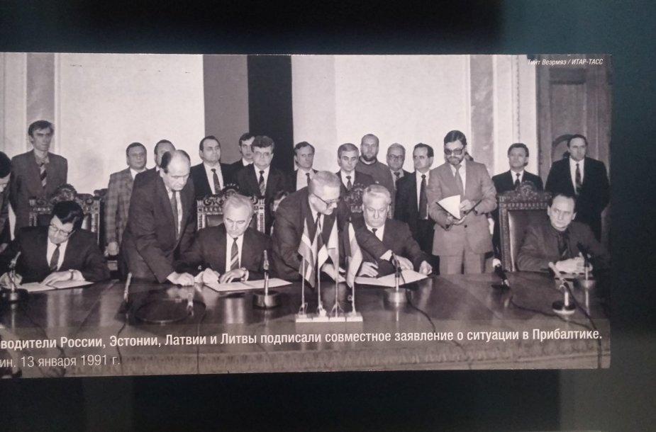 Rusijos, Lietuvos, Latvijos ir Estijos atstovai pasirašo pareiškimą Jungtinėms Tautoms