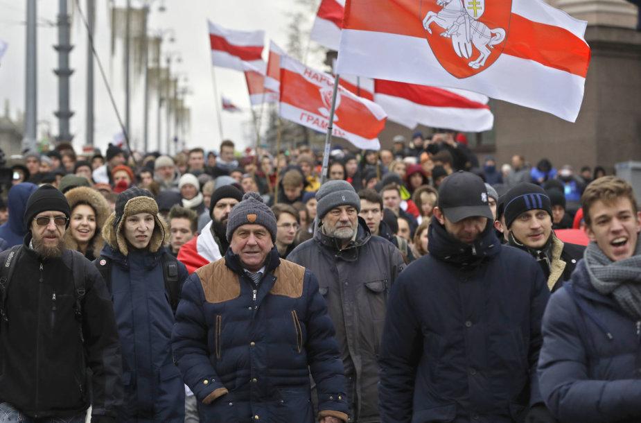 Minske surengta antroji per savaitgalį integracijos su Rusija priešininkų protesto akcija.