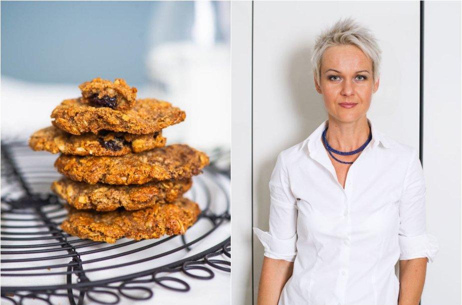 Nida Degutienė ir jos kepti avižiniai sviestiniai sausainiai su razinomis