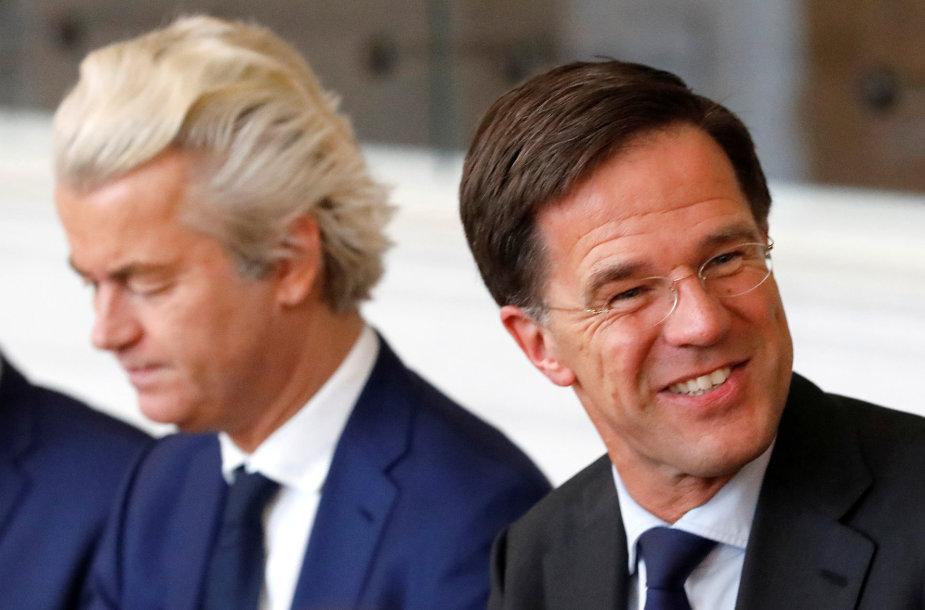Geertas Wildersas ir Markas Rutte