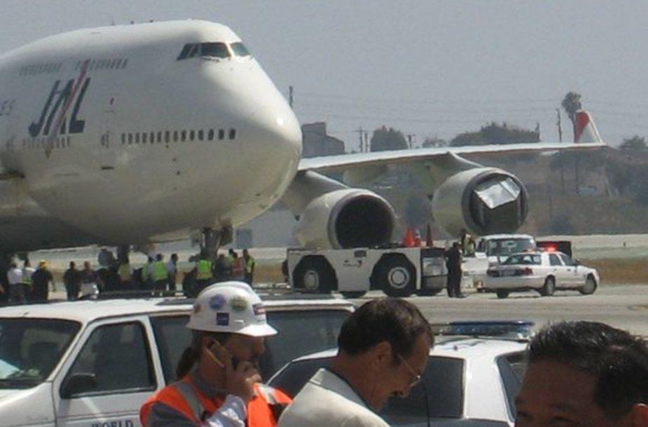 Lėktuvo variklis įtraukė krovininį konteinerį.