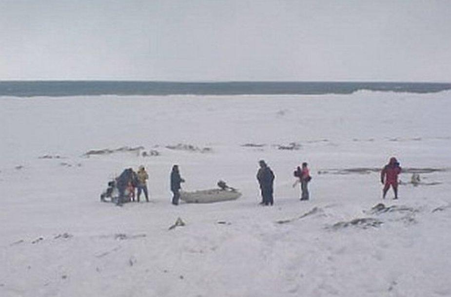 Žvejai Sachaline ant ledo lyties