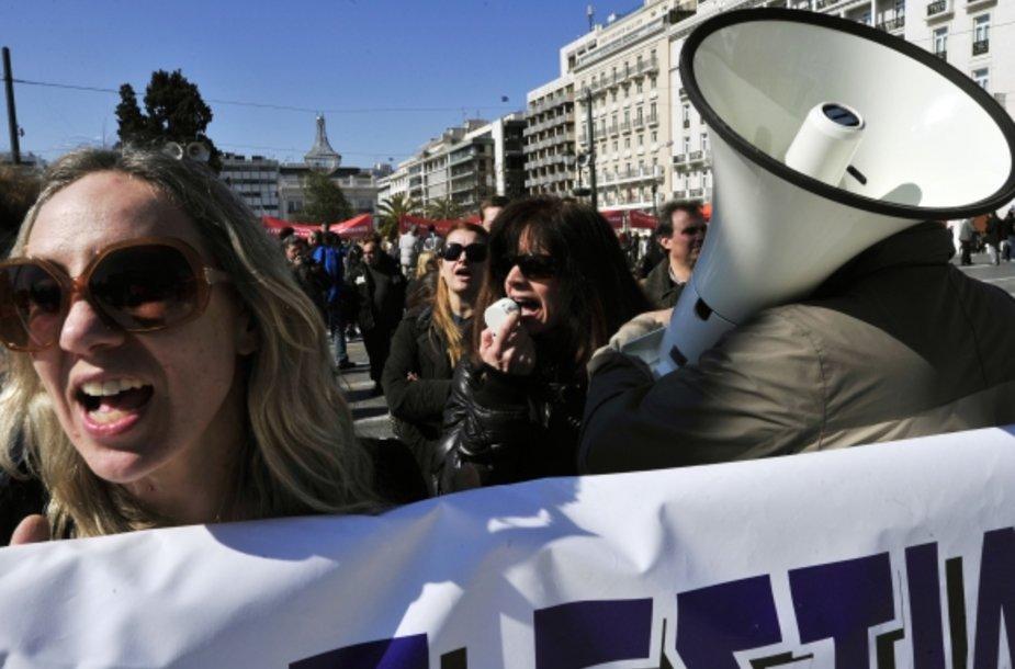 Graikai vėl protestuoja.