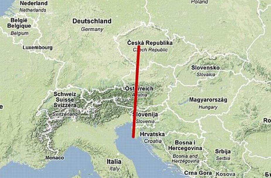 Pagal Čekoslovakijos inžinierių planą tunelis iki Adrijos jūros turėjo driektis po Austrijos teritorija.