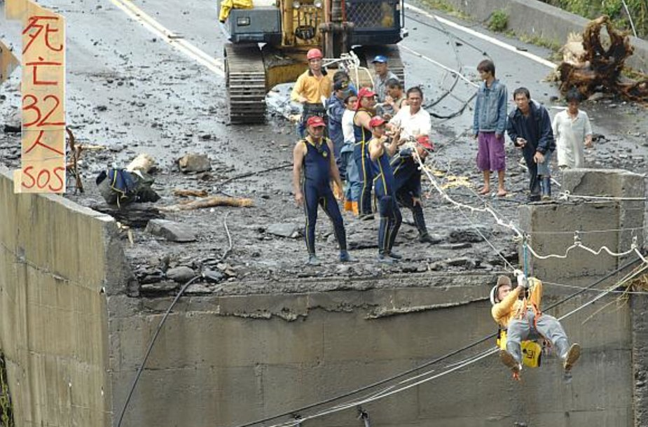 Gelbėtojai keliasi per upę. Tiltą nuplovė patvinę vandenys.