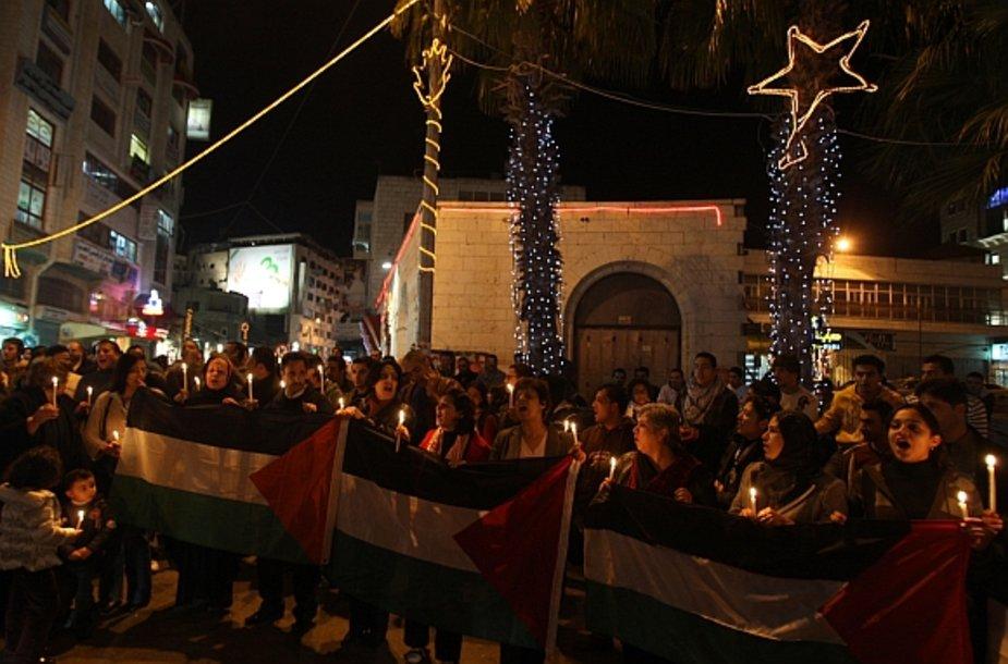Protesto ir karo paminėjimo demonstracija palestiniečių mieste Ramaloje