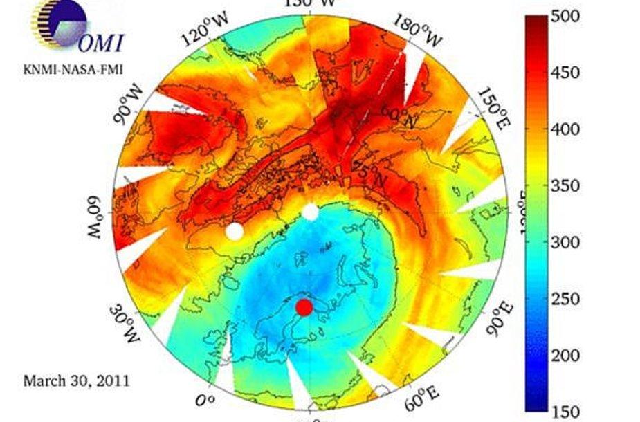 Suomijos meteorologijos instituto pateiktoje diagramoje matyti, kad Lietuva patenka į didžiausios ozono skylės zoną.