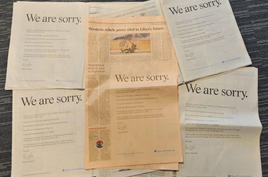 Ruperto Murdocho atsiprašymas išspausdintas visuose Didžiosios Britanijos nacionaliniuose leidiniuose