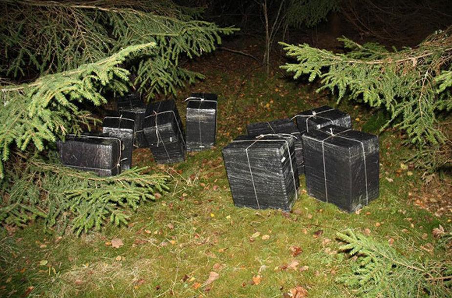 Miške po egle paliktos kontrabandinės cigaretės