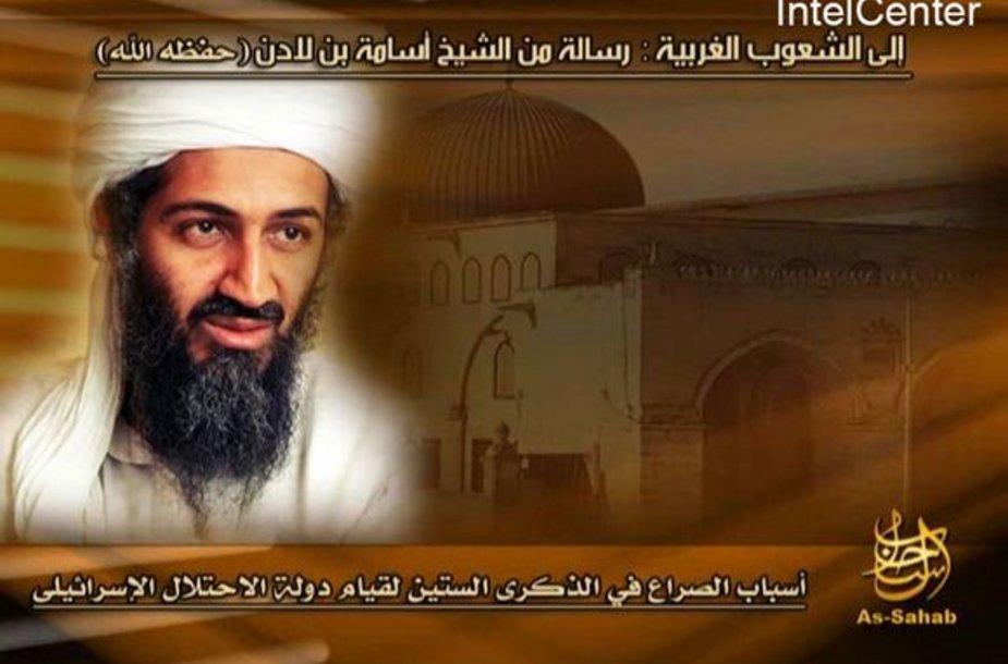 Osamos Bin Ladeno nuotrauka platinta kartu su 2008 metų gegužę jo paskelbtu pranešimu.