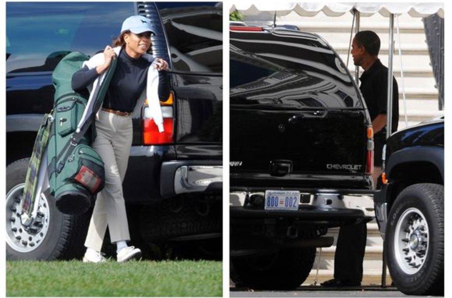 M.Barnes ir B.Obama prieš golfo partiją – prezidentas pirmą kartą žaidė su moterimi.