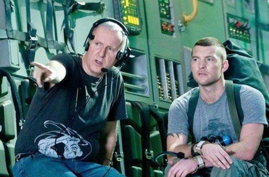 """J.Cameronas ir S.Worthingtonas filmo """"Įsikūnijimas"""" filmavimo aikštelėje"""
