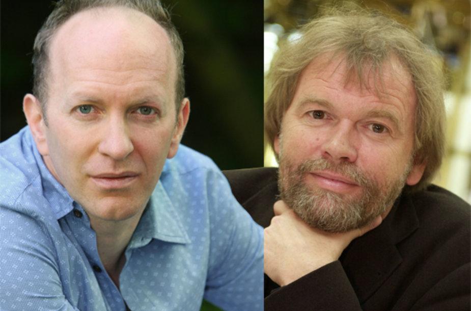 Rašytojai britas Simonas Sebagas Montefiore ir norvegas Josteinas Gaarderis