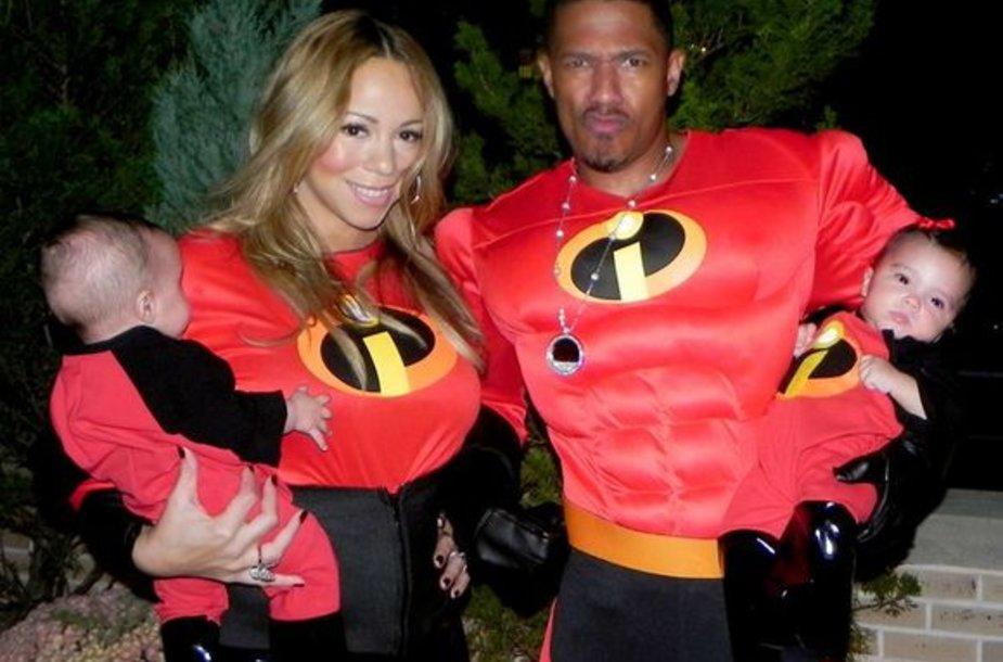 Mariah Carey su vyru Nicku Cannonu ir dvynukais