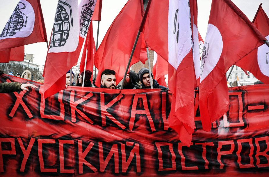 Šimtai rusų protestavo prieš Kurilų salų perdavimą Japonijai.