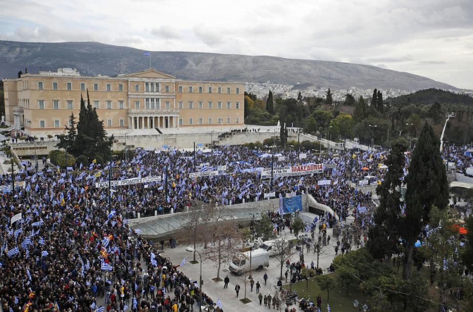 Protestas Atėnuose protestavo prieš pavadinimo susitarimą su Makedonija
