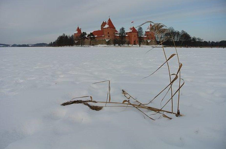 Žiema Trakuose: ledo sukaustytas Galvės ežeras ir Trakų pilis