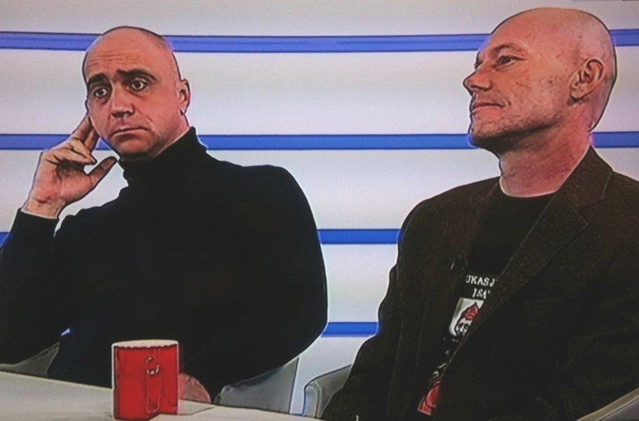 Artūras Račas ir Algis Ramanauskas TV studijoje