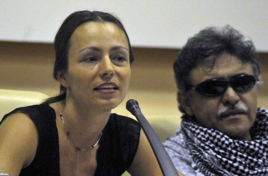 Tanja Nijmeijer  ir vadas Jesus Santrichas, FARC nariai