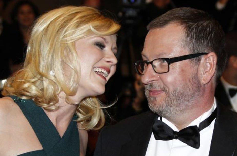 Larsas von Trieras su pagalbininke Kirsten Dunst Kanų kino festivalyje