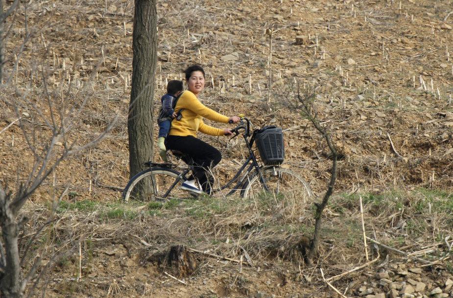 Šiaurės korėjietė ant dviračio