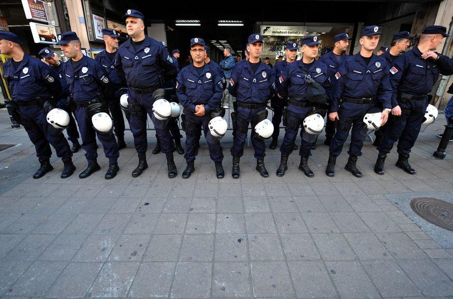 Pastatą, kuriame susirinko Serbijos homoseksualistai, saugojo policija.