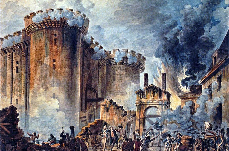 """Jeano Pierre'o Houëlio piešinys """"Bastilijos šturmas"""""""