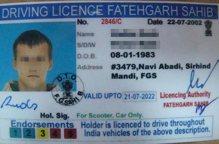 Suklastotas indiškas vairuotojo pažymėjimas