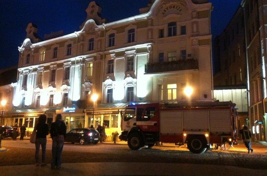Įvykio vietoje Vilniaus senamiestyje