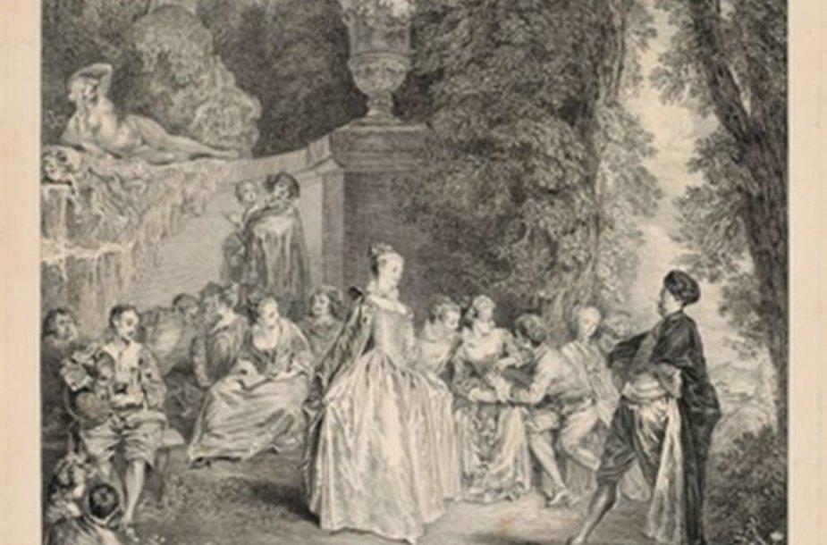 Laurent Cars (1699–1771). Venecijietiška šventė. Pagal Antoine'ą Watteau Luvro muziejus, Grafikos meno skyrius, Edmond'o de Rothschildo kolekcija