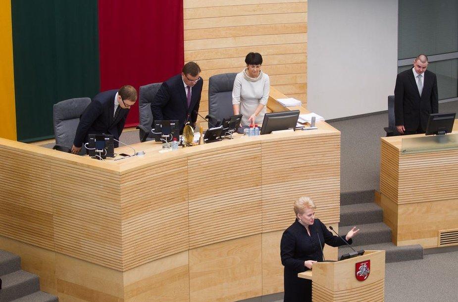 Dalia Grybauskaitė Seime perskaitė metinį pranešimą