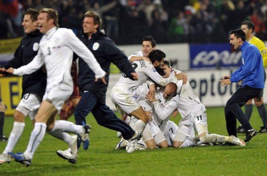 Slovėnų džiaugsmas po pergalės