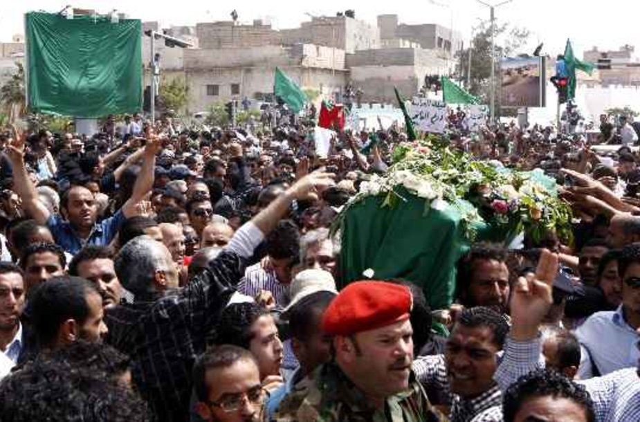 Seif al-Arab Kadhafi laidotuvės.