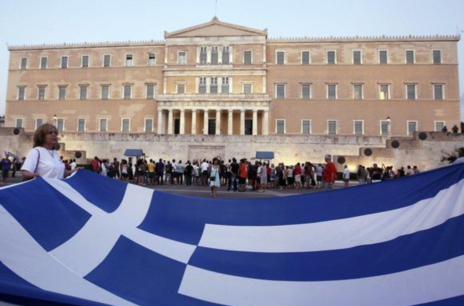 Protestuotojai prie Graikijos parlamento