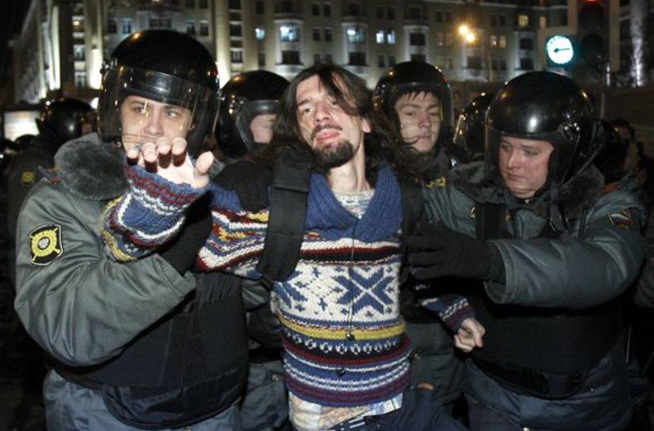 Policija sulaiko mitingo dalyvius