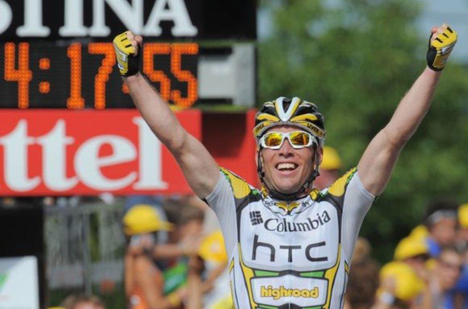 """Aštuntąjį """"Tour de France"""" etapą per savo karjerą laimėjęs M.Cavendishas pakartojo Didžiosios Britanijos rekordą, anksčiau priklausiusį Barry Hobanui."""