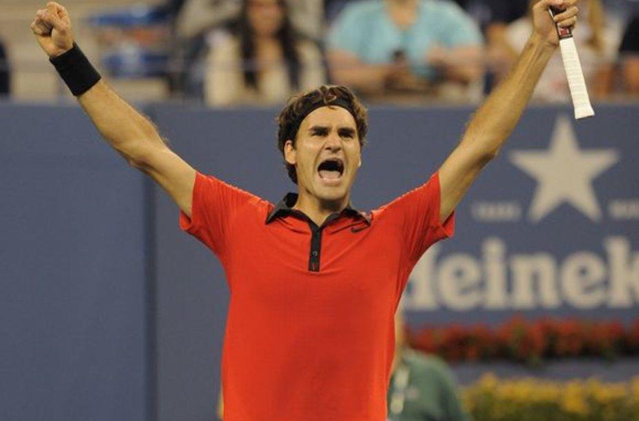 R.Federeris atvirajame JAV teniso čempionate siekia šeštojo nugalėtojo titulo iš eilės