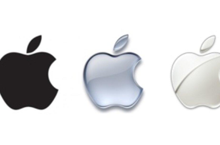 """""""Apple"""" logotipai nuo 1976-ųjų iki 2012-ųjų."""