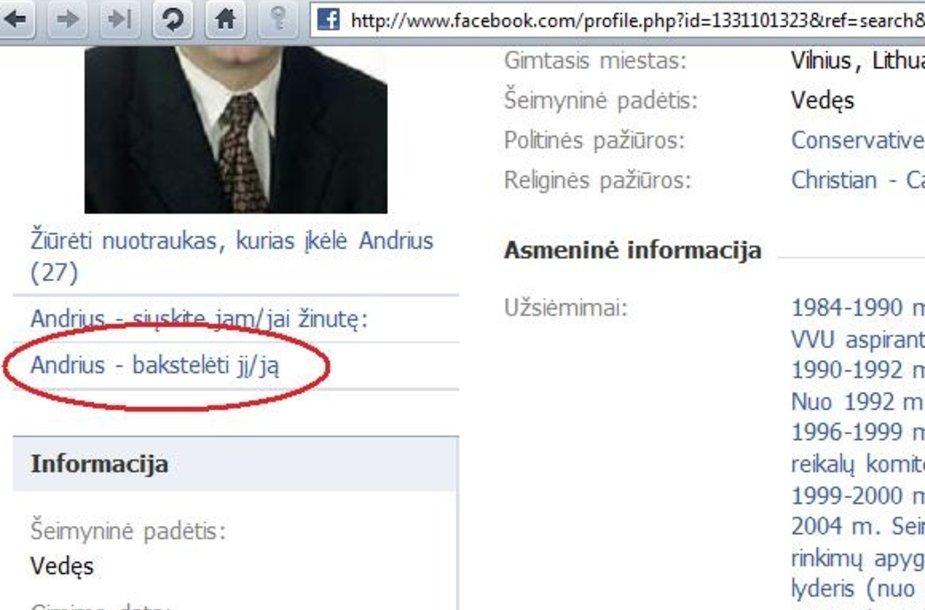 """""""Facebook"""" """"bakstelėjimo"""" funkcija."""