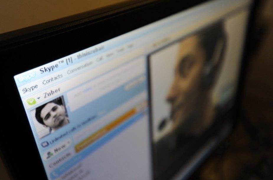 """""""Skype"""" vaizdo pokalbis."""
