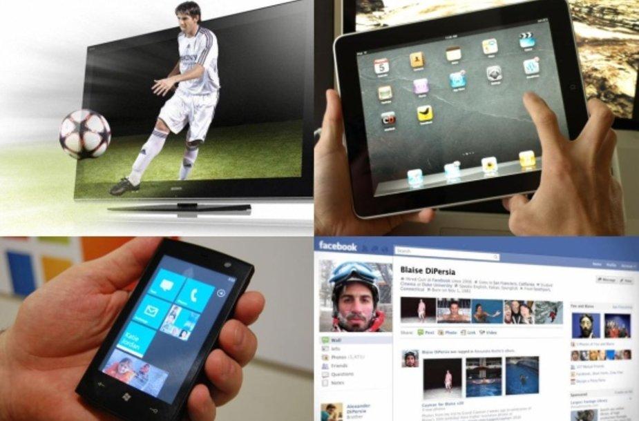 """2010 metų """"mados"""": 3D televizija, planšetiniai kompiuteriai, išmanieji telefonai, socialiniai tinklai."""