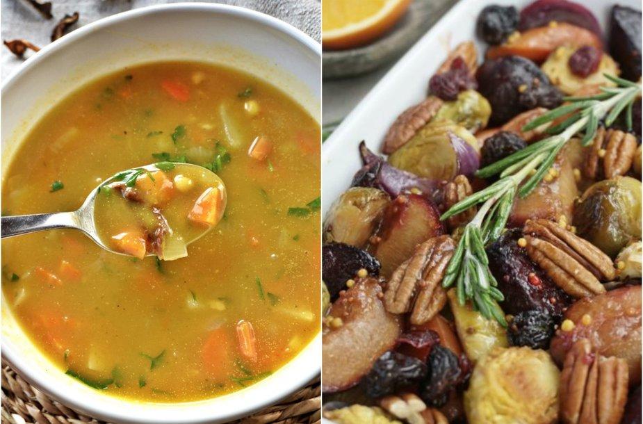 Žirnių sriuba ir keptos daržovės