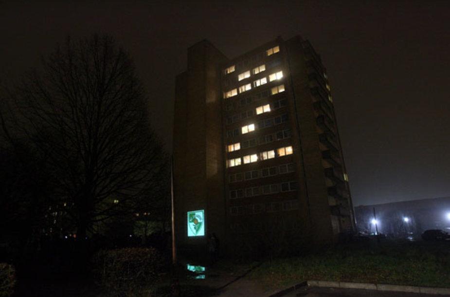 """Bendrabučio langai virto didžiule švieslente, kurioje įsižiebė žodis """"Žalgiris"""""""