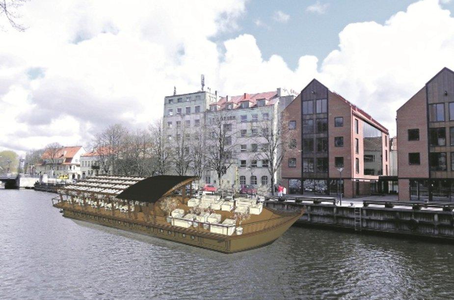 Projektuotojai patobulino viziją, kaip galėtų atrodyti laivas-restoranas Danės upėje.